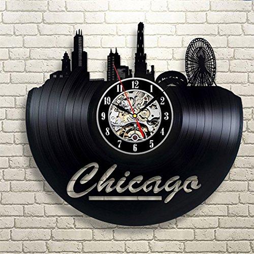 YUN Clock@ Wanduhr aus Vinyl Schallplatten Upcycling Familien Decoration 3D Chicago Design-Uhr Wohnzimmer Schlafzimmer Restaurant Wand-Deko Kunst Geschenk/Durchmesser 30 cm