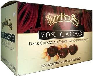 Hawaiian Sun 70% Cacao Dark Chocolate Whole Macadamia Nuts (6 Boxes)