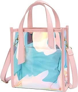 Women Cute Transparent Handbag, Girls PVC Clear Jelly Shoulder Bag Hologram Laser Tote Casual Crossbody Shoulder Bag with Lining Purse (Pink)