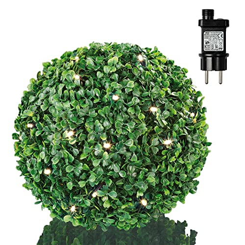Hellum 578591 Solar LED Buchsbaum-Kugel Ø 22 cm 30 LEDs warmweiß Outdoor Zuleitung 5 m grün Solar-Panel und Außen-Transformator