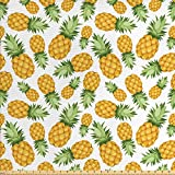 Ambesonne Yellow and White Fabric by The Yard, Pineapples Tropical Climate Fruits Ripe Juicy Food, Decorative Fabric for Upholstery and Home Accents, 1 Yard, Yellow Green