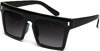 Flat Top Sunglasses Retro Designer Square Gradient Lens Black Frame