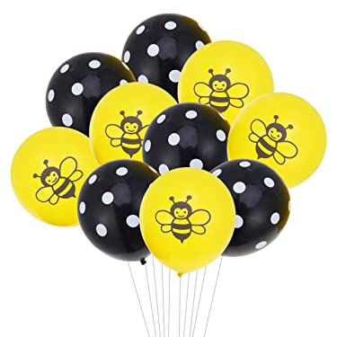 TOYANDONA 10PCS Bee Balloons Set Baby Birthday Ballons Bumblebee Balloons Birthday Party Decoration Supplies 12 Inches