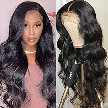 Brazilian Body Wave 4x4 Lace Front Wigs 10A Human Hair Wigs Pre Plucked Natural Hairline with Baby Hair Brazilian Body Wave Virgin Human Hair Wigs 150 Density Natural Black Color 30inch