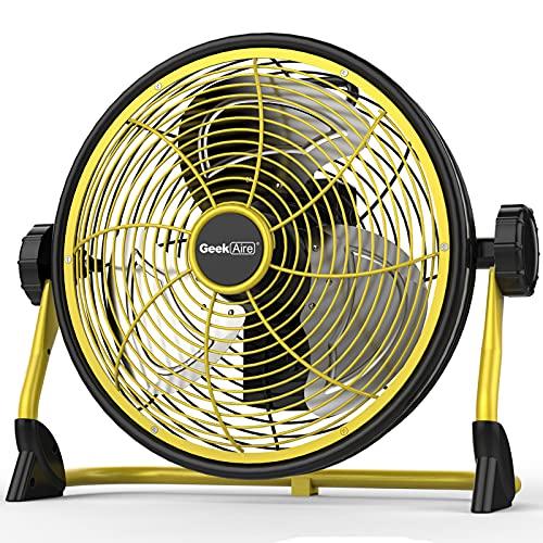 Geek Aire 業務用扇風機 屋外扇風機 工業扇 工場扇 IPX4防水 充電可能な屋外ファン 家庭ファン 空気循環金属の羽根付き30cm(12インチ) 大容量15000 mAh 風量5段階調節 24時間に及ぶキャンプハリケーンの運行時間