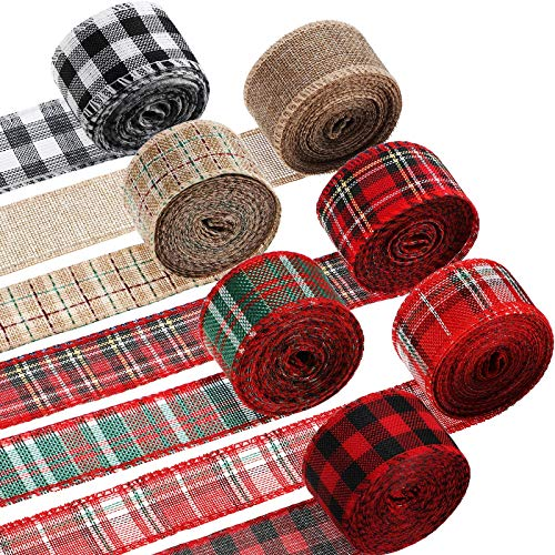 7 Rolls Christmas Wired Plaid Ribbons 42 Yards Buffalo Plaid Ribbon Black Red Plaid Burlap Ribbons for DIY Wrapping Floral Bows Craft Christmas Decoration, 1.7 Inch Width