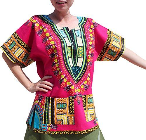 Full Funk Bright Unisex Dashiki Festival Shirt - African Top, Large, Pink