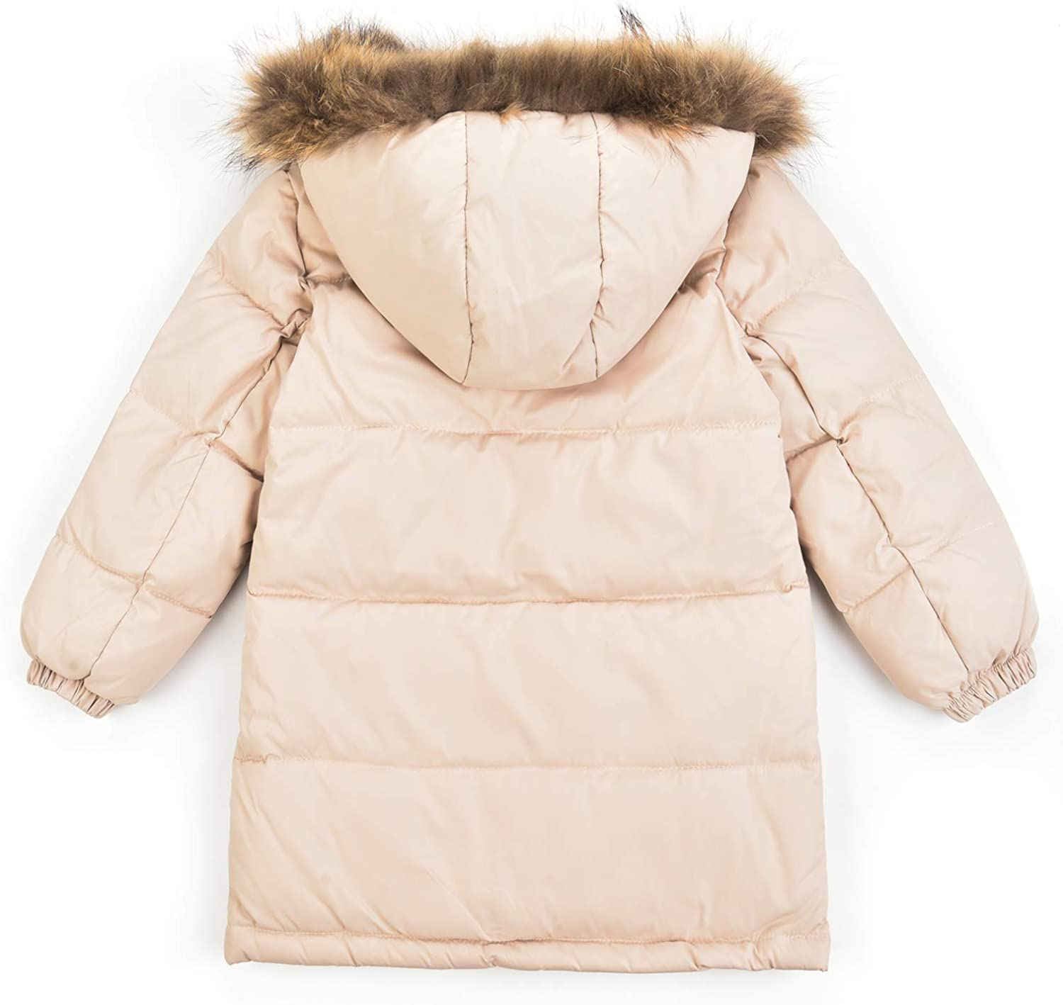 Winter Coats for Girls Fur Hooded Duck Down Puffer Jacket Thick Padded Windproof Parka Jacket