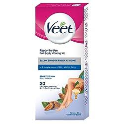 Veet Full Body Waxing Kit for Sensitive Skin, 20 strips