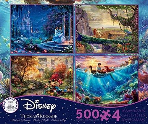 Ceaco Thomas Kinkade The Disney Collection 4 in 1 Multipack Cinderella, The Lion King, Mickey and Minnie Mouse, & The Little Mermaid Jigsaw Puzzles, (4) 500 Pieces