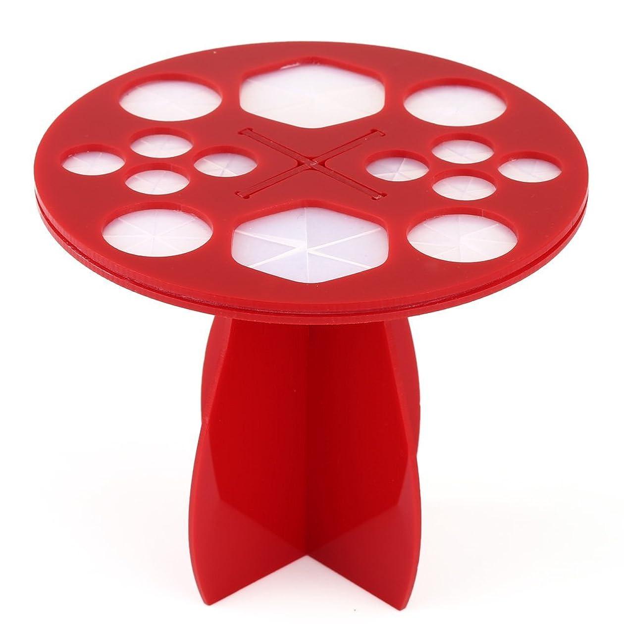 立方体ラボヘビーメイクブラシホルダー 収納スタンド アクリル 丸型 14本収納タイプ 化粧筆を乾かせる際に大活躍 超便利 3色選択可能  (赤)