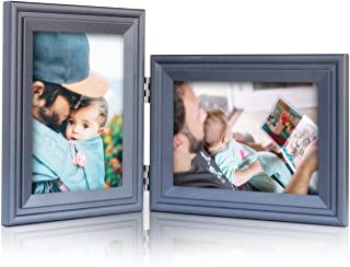 Vertical Horizontal Combo, Double 5x7 Black Painted Wood Hinge Picture Frame, Portrait and Landscape View Photo Decorate Desktop or Wall Hanging
