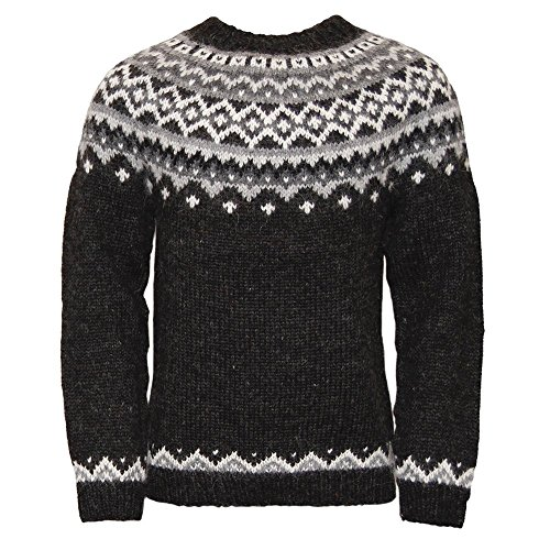 ICEWEAR Skjoldur Men's Sweater Hand Knitted Design 100% Icelandic Wool Sweater Without Zipper Black