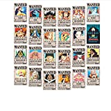 DZHJKIO One Piece Wanted Posters 28.5cm×19.5cm, New Edition, Luffy 1.5 Billion, Set of 24