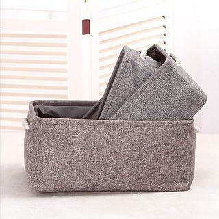 MU Grande boîte de rangement en lin écologique, panier de rangement portatif, boîte de rangement pliable pour articles div...