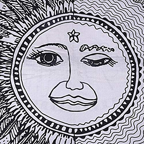 Charoil Enterprises Black & White Mandala Sun and Moon Cotton Cushion Cover Boho Handmade Pet Bedcover Hippie 35'' Inches Large Floor Case Decor