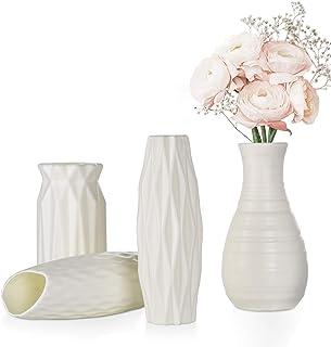 FORMIZON Vases en Plastique, 4 Pièce Imitation Céramique Pot de Fleurs, Vases Léger et Facile à Transporter Parfait pour B...
