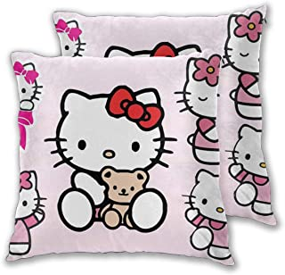 MOANDJI Hello Kitty Face Decor Throw Pillow Case Cushion Cover Pillow Cover Soft Decorative Pillowcase for Bed/Chair/Couch,2 Pcs
