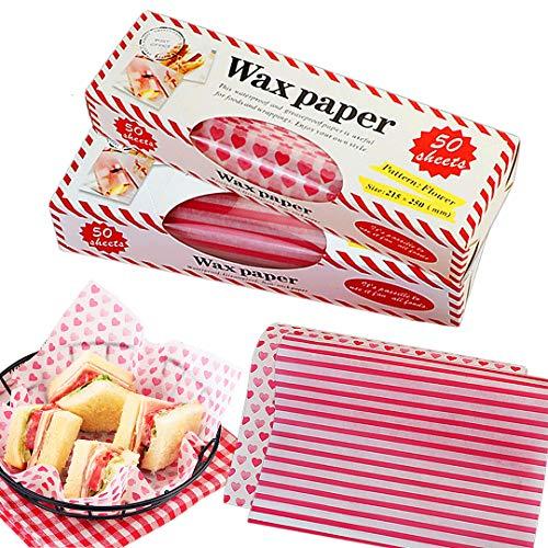 Zezzxu 100Pcs Wax Paper Sheets Food Picnic Paper, Deli Paper Greaseproof Waterproof Paper Liners Wrapping Tissue for Sandwich Hamburger Food Basket (Stripe+ Love Heart pattern)