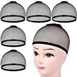 HNYYZL 5Pcs Wig Caps, Black Mesh Net Wig Cap Stretchy Open End Wig Caps for Long or Short Hair Hold Securely in Place
