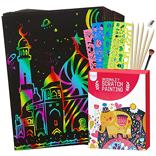 Youwo Scratch Paper Art Set - 61 Pcs Kids Art Supplies, Magic Rainbow Coloring Scratch Off Cards Arts and Crafts Activity, Paper Craft Set for Party Drawing Games, Birthday