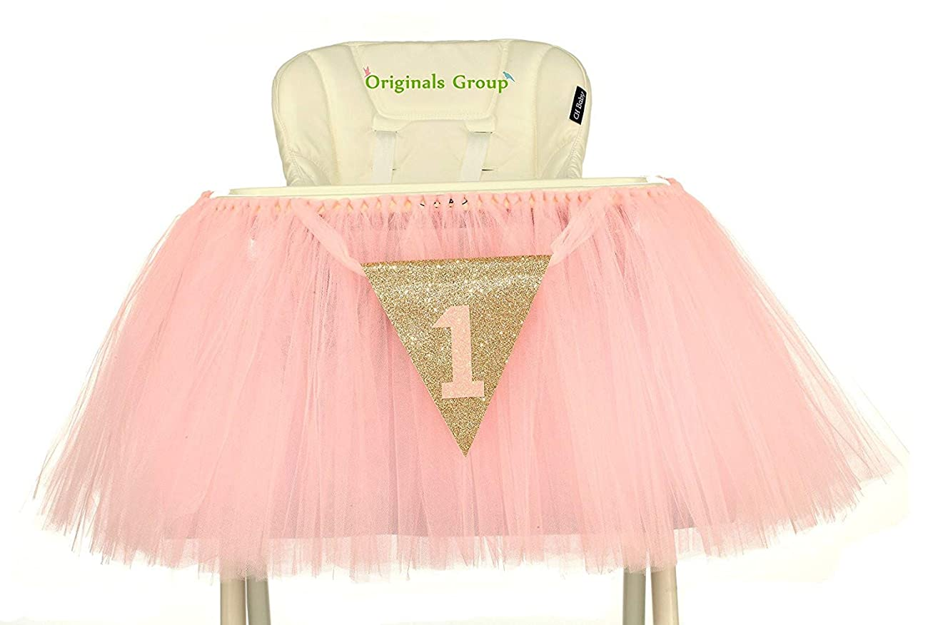 Originals Group 1st Birthday Baby Pink Tutu Skirt for High Chair Decoration for Party Supplies