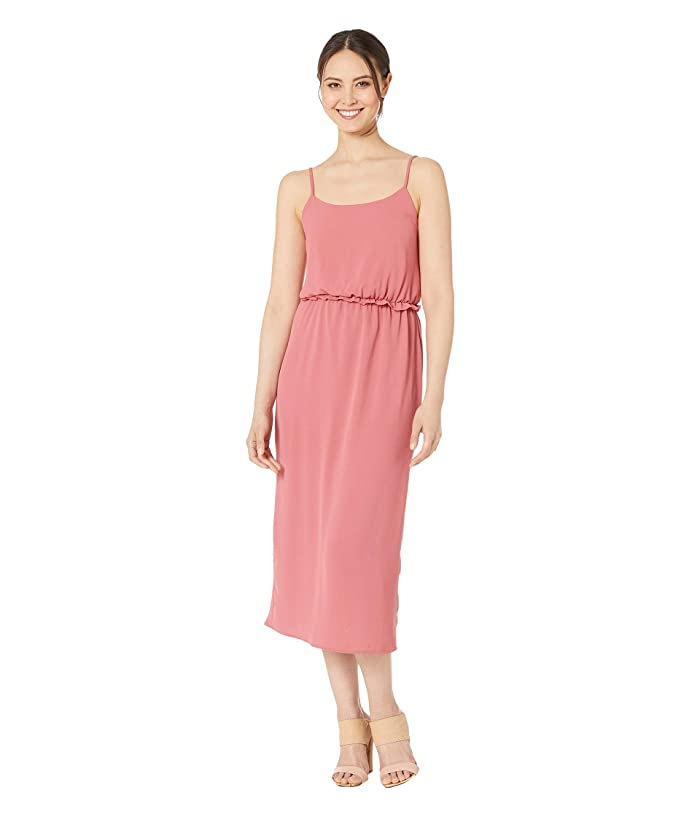 American Rose Kaytlyn Midi Dress with Back Slit (Coral) Women