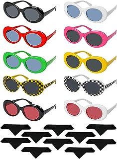 91a592d549 Funhoo 10 Parre Retro Gafas ovaladas Gafas de Sol de Marco Grueso Lente  Redonda Gafas 10