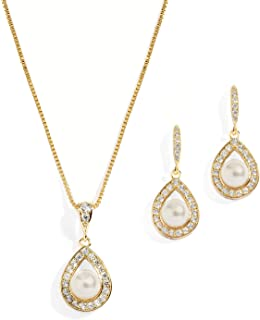 Wedding Necklace and Earrings Pearl Jewelry Set with Inlaid CZ Frame for Bridesmaids & Brides