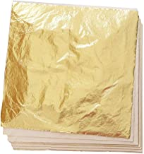 Zehhe 100 Sheets 5.5 by 5.5 Inches Imitation Gold Leaf Foil Paper for Arts, Gilding Crafting, Decoration DIY (Gold)