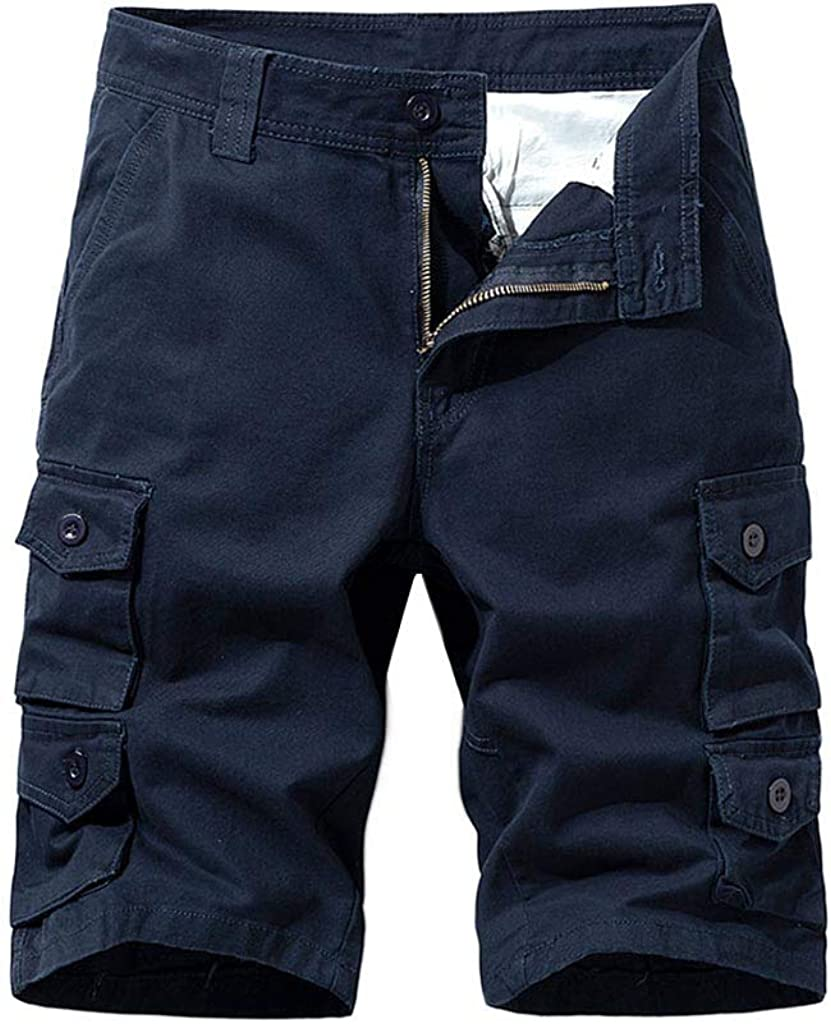 MODOQO Men's Fitness Shorts, Solid Color Quick Drying Outdoor Summer Cargo Shorts with Pockets