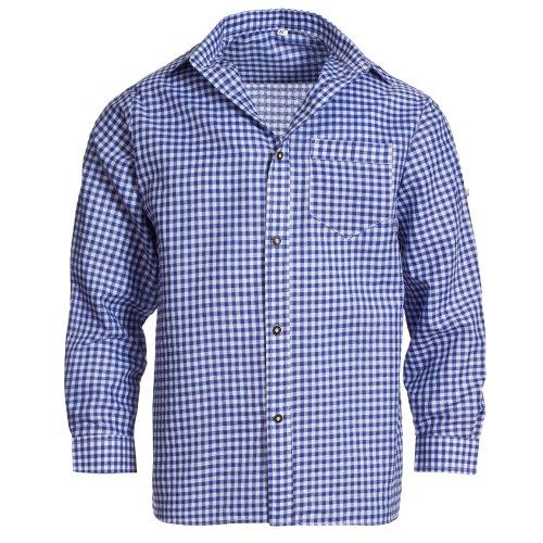 Gaudi Leathers Camisa de traje típico bávaro/tirolés para hombre con mangas remangables, de cuadros Blau (Blau 065) M