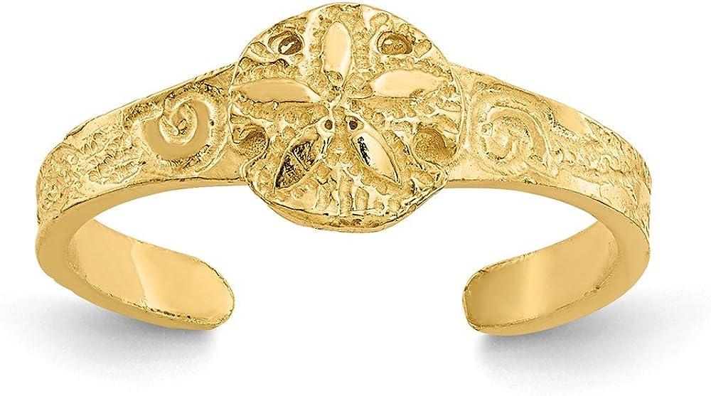 14K Yellow Gold Diamond-cut Sand Dollar Toe Ring