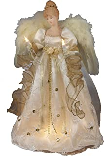 Kurt Adler 16-Inch UL 10 Light Ivory and Gold Angel Treetop