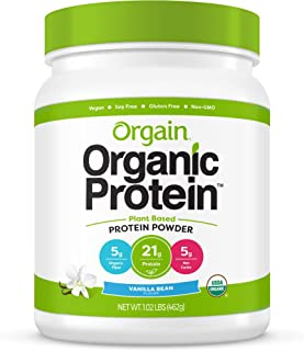 Orgain Organic Plant Based Protein Powder, Vanilla Bean - Vegan, Low Net Carbs, Non Dairy, Gluten Free, Lactose Free, No S...