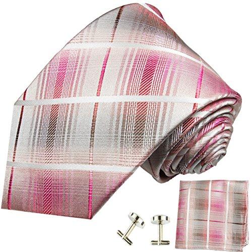 P. M. Krawatten Paul Malone Herren Krawatte pink gestreift Set 3tlg - 100% Seide - Pinke Seidenkrawatte mit Einstecktuch und Manschettenknöpfe