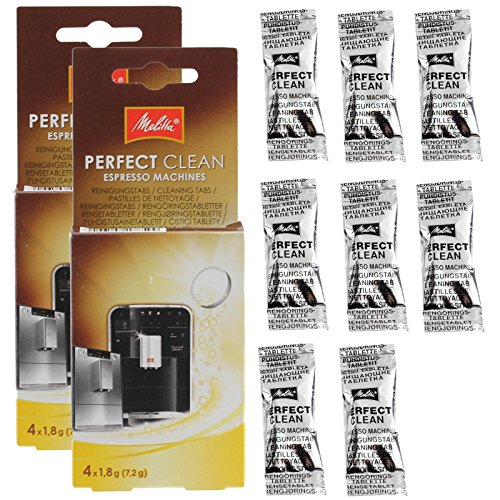 Original Melitta Perfect Clean Reinigungstabletten für Kaffeemaschinen/Entkalker, 8Stück