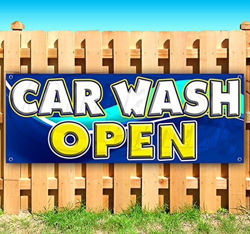 CAR WASH Open 13 oz Heavy Duty Vinyl Banner Sign with Metal Grommets, New, Store, Advertising, Flag, (Many Sizes Available)