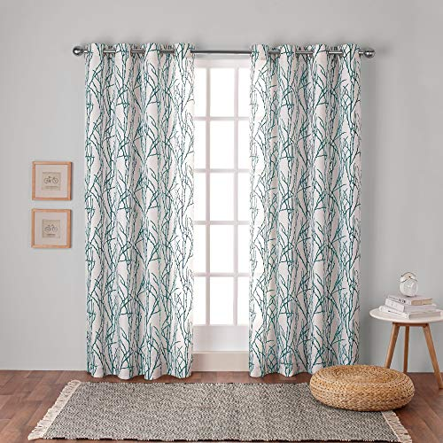 Exclusive Home Curtains Branches Linen Blend Window Curtain Panel Pair with Grommet Top, 54x96, Teal, 2 Count