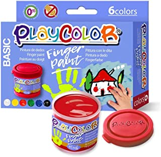 Lot de 6 Pots de Peinture au Doigt - 40 ml. Couleurs Assorties - Finger Paint Basic - Playcolor - 17591