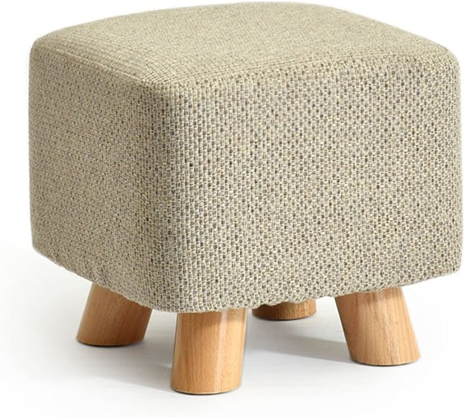 ZfgG Solid Wood shoes Stool Square Upholstered Footstool Sofa Low Stool Footrest Small Seat Foot Rest Chair Dark bluee (color   Beige)