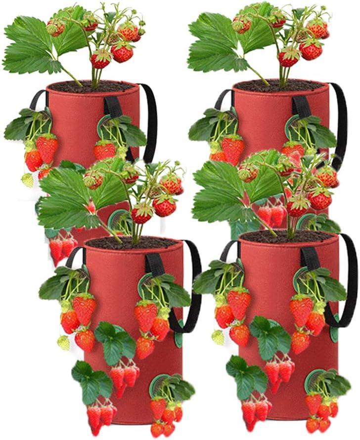 SETSCZY 4 Piezas, Bolsas para Plantar Fresas, Bolsa de Cultivo de Macetas con Fresas, Colgantes de Fieltro para Plantas de Jardín Hierbas Flores Bolsa Siembra Fresa para Fresas,Hierbas,Flores,Rojo