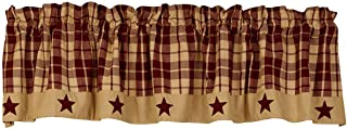 The Country House Collection Burgundy Farmhouse Star Valance (72x14