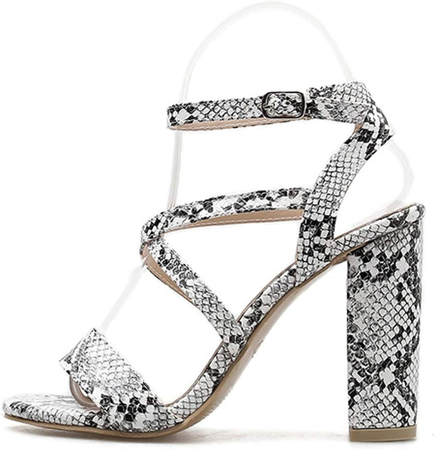 Little SU Sexy Snakeskin Open Toe Sandals Thick High Heels Buckle Strap Cross Tied Fashion shoes