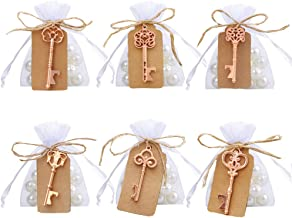 Dzty 60 Pcs Rose Gold Skeleton Key Bottle Opener with Escort Tag Card and Twine for and Drawstring Sheer Bags Wedding Favors Baby Shower Return Gifts for Guests Party Favors (Mixed 6 Styles )