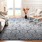 Safavieh Madison Collection MAD604G Navy and Silver Distressed Ogee Area Rug (6'7' Square)