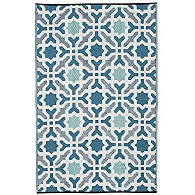 Fab Habitat Seville  Indoor/Outdoor Recycled Plastic Rug,  Multicolor Blue, ( 5' x 8')