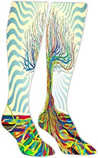 Multicolored Line Trees Stockings Female Spring and Autumn Warm Slimming Over The Knee Socks