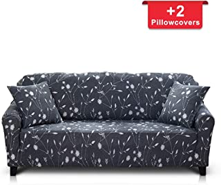 Hipinger Spandex Fabric Stretch Couch Cover Sofa Slipcover Stylish Furniture Protector for 4 Cushion Couch (4 Seater, White Flower)