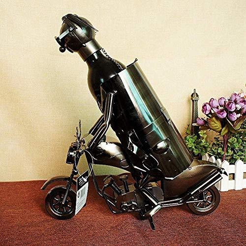 Pyrojewel Clásico Adornos de cocina creativa que montan vino estilo moto de bastidores de hierro decoración del hogar de la escultura del vino titular de la botella de vino Contenedores Decoración del